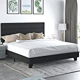 Allewie King Size Fabric Upholstered Platform Bed Frame with Headboard and Wooden Slats, Fully Upholstered Mattress Foundation, No Box Spring Needed, Easy Assembly, Dark Grey