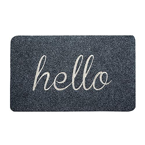 Felpudo antideslizante Hello para puerta de entrada interior con diseño de Hello (45 x 70 cm), color negro