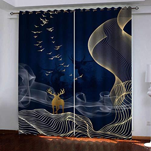QDDRL verduisteringsgordijnen voor de woonkamer, ondoorzichtig, isolerend, waterdicht, met oogjes voor de slaapkamer, 2 panelen, hertenpatroon