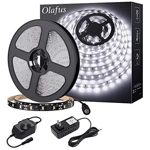Olafus 16.4ft LED Strip Lights Daylight White Dimmable LED Rope Light Kit, 12V Flexible Under Cabinet Tape Lighting, 5m 300 LEDs 2835, 6000K Cool White LED Strip Indoor Vanity Mirror Bedroom Kitchen