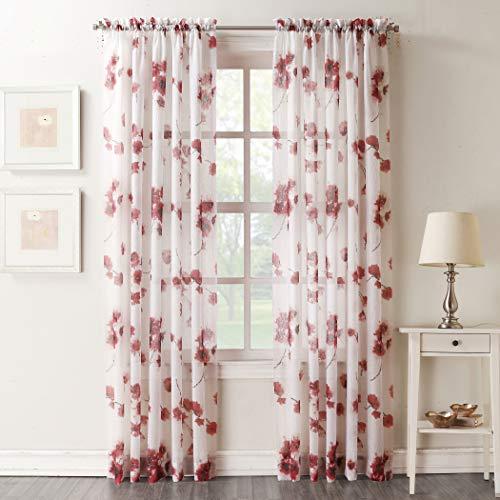 "No. 918 Kiki Floral Print Crushed Sheer Voile Rod Pocket Curtain Panel, 51"" x 63"", Coral"