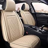 Housses de siège en cuir Housses de siège auto, ensemble complet 5 places Housses de protection universelles en cuir pour sièges avant et arrière Coussins de siège auto (Compatible avec les airbags)