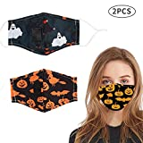 Halloween Reusable Face Cotton Bandanas, Halloween Party Supplies for Men Women Youth (Ghost, Black Pumpkin)