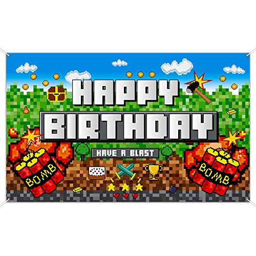 Pixelated Birthday Party Decoration Backdrop, Birthday Banner Pixelated Mining Background Video Game Backdrop Block Games Sign Decoration for Pixelated Wall Decoration Photo Props Tablecover