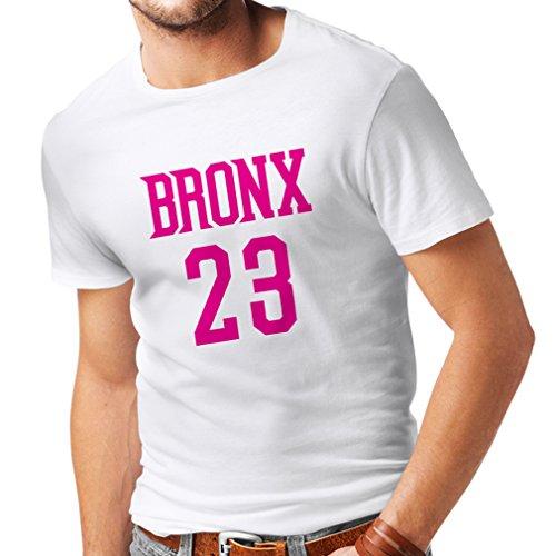 lepni.me Männer T-Shirt Bronx 23 Freestyle, New York City Sport Stil Mode Kleidung (XXX-Large Weiß Magenta)