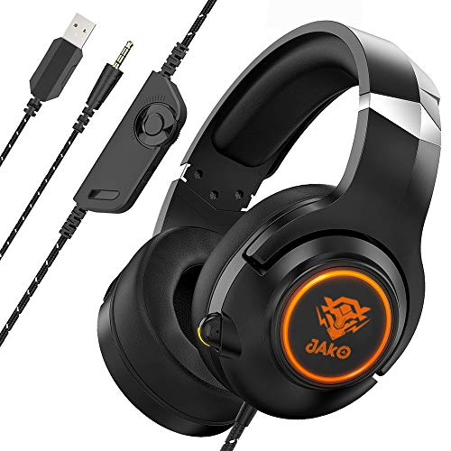 Gaming Headset for Xbox One PS4 Playstation 4 Nintendo Switch, LED Light Headphones with Soft Earmuffs for PC MP4 Mobile Phone Ipad, Noise Cancelling Over Ear Headset with Mic JAKO