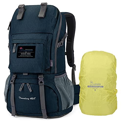 MOUNTAINTOP 40L Zaino Trekking per Donna e Uomo da Viaggio, Zaino Montagna con Copertura della Pioggia per Campeggio Escursione, Blu Stellato