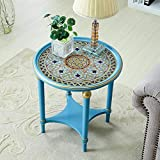LLA Coffee Tables Sofa Side Table Tempered Glass Wood round Carved Φ52*H52Cm