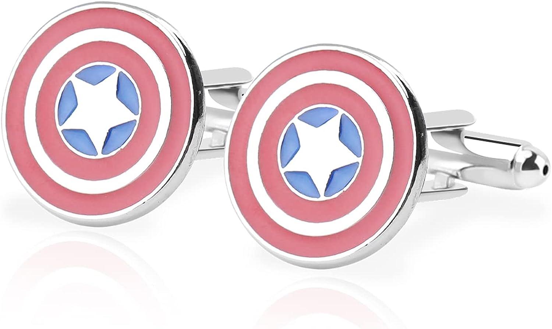 Avengers Superhero Cufflinks Captain America Batman Cufflink Formal Wear Avengers Tie Clips For Men Party Shirt Cufflink with Gift Box