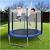 6FT Kids Trampoline | Round Mini Trampolines with Enclosure Net Jumping Mat Safety Pad & Heavy Duty Round Bounce Jumper Gifts for Boy and Girl (from US, Blue)