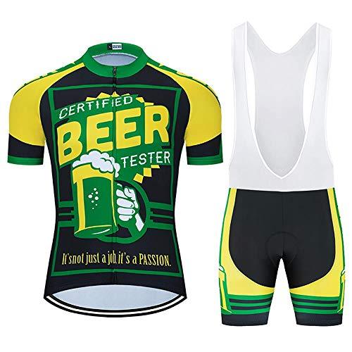 Los hombres de Ciclismo Trajes con 20D Gel Acolchado Babero Pantalones Cortos Ciclismo Conjunto Conjunto de Ropa de Verano para Hombres Cerveza Ciclismo Jerse