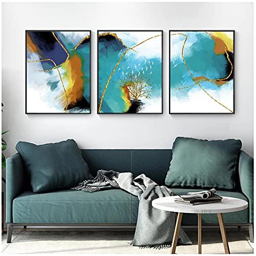 ZXYFBH-Cuadros decoracion salon modernos 3 piezas 30x50cm Sin marco Azul cielo Acuarela...