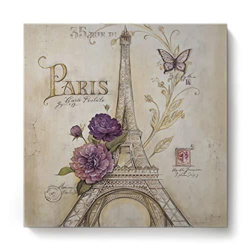 Square Canvas Wall Art Oil Painting for Bedroom Living Room Home Decor,Retro The Eiffel Tower of Paris Office Artworks,Stretched by Wooden Frame,Ready to Hang,16 x 16 Inch