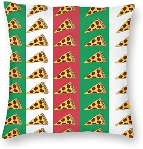 Funda de Almohada Decorativa con diseño de Bandera Italiana, Funda de Almohada para Pizza con Cremallera Oculta, Funda de Almohada Cuadrada súper Suave, Funda de cojín para sofá, Dormitorio, Coche, s