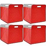 DuneDesign 4er Set Filz Aufbewahrungsbox 33x33x38 cm Kallax Filzkorb Regal Einsatz Box Rot