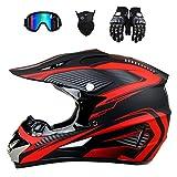 Casco de motocross Offroad, color negro y rojo, para hombre, para ciudad, BMX, con guantes, pasamontañas y gafas, casco cruzado (M (57-58 cm)
