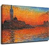 Cuadro de la imagen de Claude Monet Venecia Crepúsculo de la imagen de la reproducción de la imagen en lienzo enmarcado arte de la pared del hogar Marcos de 16 × 24 pulgadas (40 × 60 cm)
