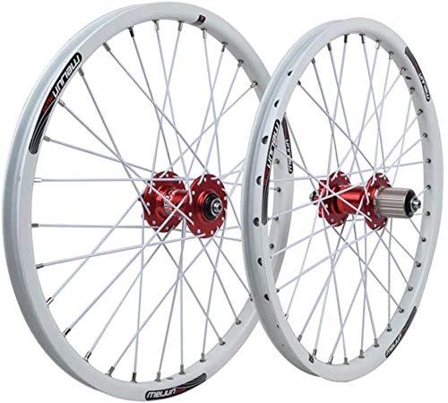 YZU 20 pollici bicicletta Wheelset doppia parete cerchio lega freno a disco sigillato cuscinetto QR 8/9/10 velocità Card Hub per BMX pieghevole bici 32H, bianco
