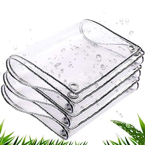 CHENHZ Lona Impermeable,Transparente Toldo Reforzado Gramaje Lona De Protección con Ojales para Muebles De Jardín, Piscina (Color : Claro, Size : 2.4x6m)