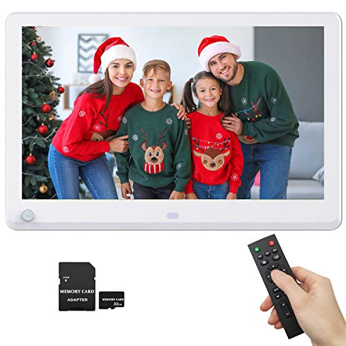 12 Inch Digital Photo Frame 1920x1080 Motion Detection IPS Screen 16:9, Photo Auto Rotate, Auto Play, Auto Turn On/Off, 1080P Video Frame, Background Music, Include 32GB SD Card Digital Frames Picture