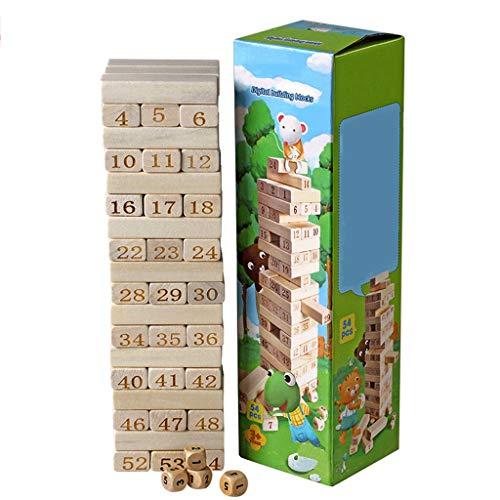 Kinder Intelligenz Spielzeug Digital Stacking Höhe Baustein Erwachsene Schicht Pumpen Holz Eltern-Kind-Interaktion Party Game (Farbe : Holzfarbe)