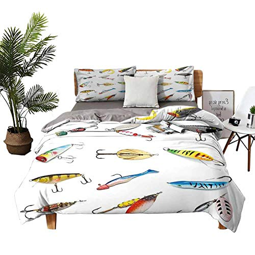 DRAGON VINES 4pcs Bedding Set Bedding Cover Sets Pillow case Several Fish Hook Equipment Objects Trolling Angling Netting Gathering Activity Multi Student Dormitory W90 xL90