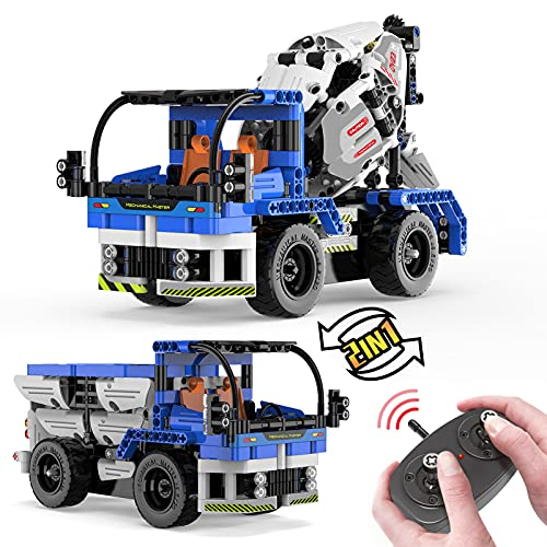 burgkidz STEM Toys Building Sets for Kids, Building Blocks 2 in 1 Truck Toys and Concrete Mixer Truck with Remote Control, STEM Building Toys Set for Kids - Ages 6 Years Old, Boy & Girls Toys Gift