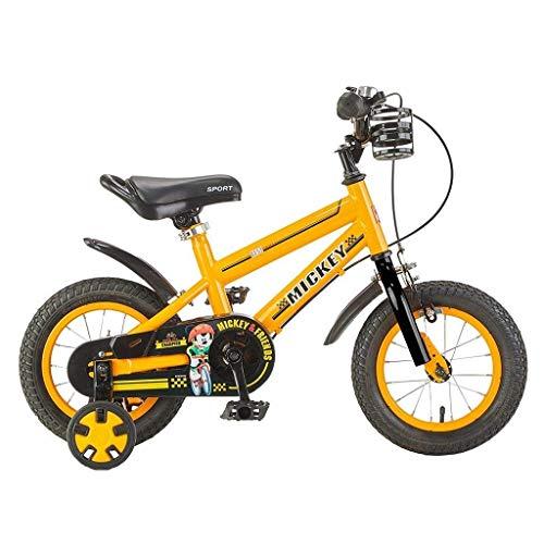 Bicicletas para niños, bicicletas para niños Scooter para niños 3-9 años Bicicleta deportiva para niños y niñas 12/14/16 pulgadas Bicicleta para montar al aire libre (Color: Amarillo, Tamaño: 14 p