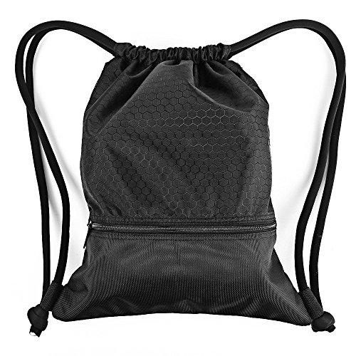 Turnbeutel Zenwow Beuteltasche Sportbeutel Gymsack Tasche Rucksack – wasserdicht Schwimmen Training Boxen für Strand Schule Kinder Jungen Mädchen Sport Sack Judo Netball Gym PE Tasche,schwarz