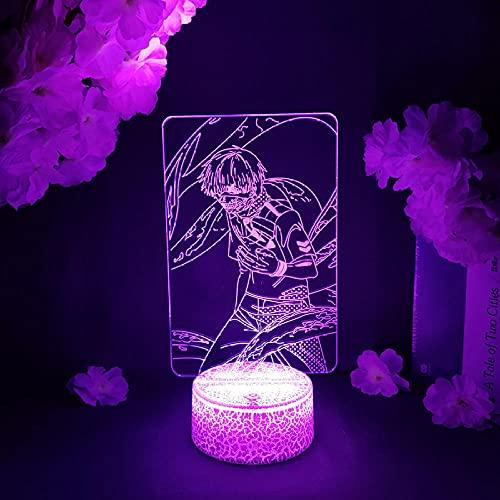 Lámpara de ilusión 3D Luz de noche LED Estatuilla de anime Tokyo Ghoul Ken Kaneki Noche Otaku Casa Decoración de habitación Lámpara de mesita de noche Manga Art Dec Niño Niña Regalo de cumpleaños