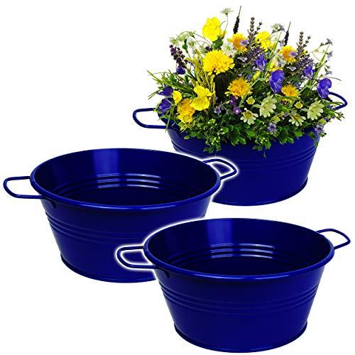 alles-meine.de GmbH 5 Stück _ Design - Blumentöpfe / Pflanzkübel / Pflanzschale - Metall - royal blau - 25 cm - RUND - frostsicher - MITTEL groß - mit Henkel - Eimer / Dekotöpfe ..