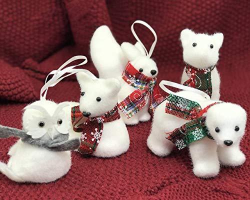 5 Pcs Xmas Tree Pendant Christmas Ornaments Cute Bear Squirrel Owl Deer Fox White Foam Woodland Animal Forest Friends Christmas Ornament Supplies Set Kids