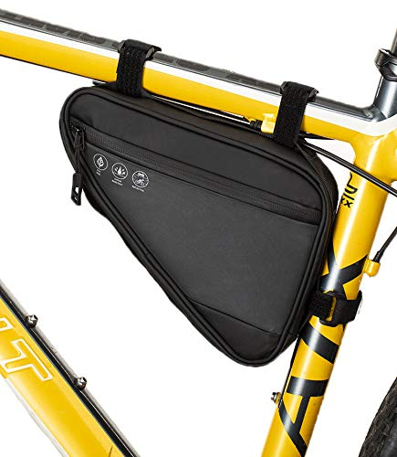 ZRVATO Bike Frame Bag Small, Bicycle Triangle Storage Bag Water Resistant Reflective Pack for Commuter Cruiser Road Mountain Electric Bikes (Bag)