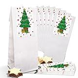 25 bolsas pequeñas blancas con base de pergamino (7 x 4 x 20,5 cm) + 25 pegatinas de árbol de navidad (5 x 15 cm) – Embalaje Mini regalos de Navidad bolsas de suelo de cruz para give-away