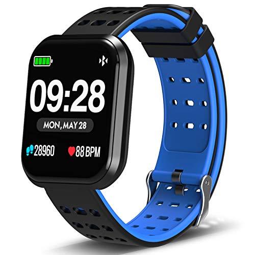 DoSmarter Surpro Fitness Watch, Wearable Activity Tracker Running Watch with Heart Rate Monitor, Waterproof Smart Wristband Pedometer Watch for Kids Woman Man, Blue