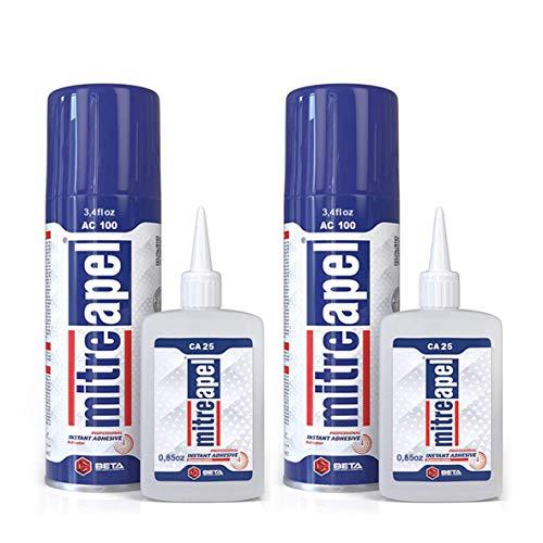 MITREAPEL Super CA Glue (2 x 0.90 oz) with Spray Adhesive...