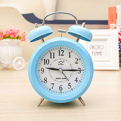 """XNZ 4"""" Twin Bell Alarm Clock, Non-Ticking Alarm Clock with Nightlight,Battery Operated, Light Loud Alarm Stereoscopic Dial Loud Home Clock for Bedroom"""
