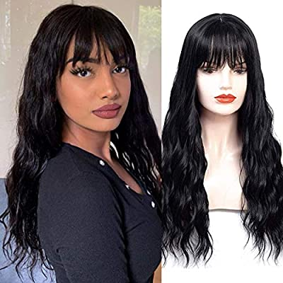 HUA MIAN LI Long Wavy Wig With Air Bangs Silky Full Heat Resistant Synthetic Wig for Women - Natural Looking Machine Made Grey Pink 26 inch Replacement Wig for Party Cosplay Body Wavy