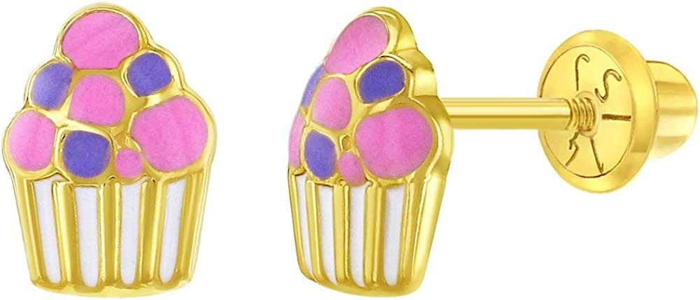 14k Yellow Gold Colorful Enamel for Cupcake Back Earrings Don't miss the campaign Popularity Screw