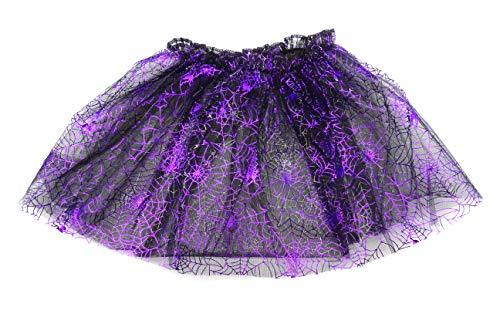 onweerstaanbaar1 Paarse Fancy Dress Up Halloween Glitter Glanzende Spider Net 30 cm Lange Tutu Rok Met Stretchy Tailleband 30-76 cm