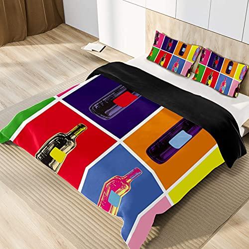3D-bedrukt dekbed beddengoedset kussen beddengoed wijn dubbel (200x200 cm), 3-delige set 1 dekbedovertrek + 2 stuks bijpassende kussenslopen