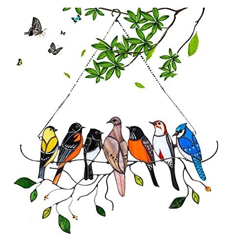 Décor de tentures de fenêtre de colibr i en vitrail, panneau de fenêtre en acrylique teinté en métal, cadeau d'artisanat commémoratif d'ornement de Suncatcher coloré peint double face (7 oiseaux)