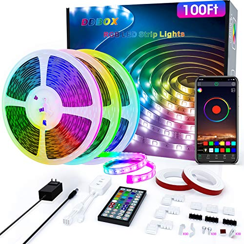 Ddbox 100FT 5050 RGB LED Music Sync Strip Lights w/ 44-Key Remote $32.49