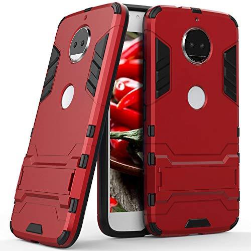 7.6 Cover Antiurto con Sostegno per Motorola Moto G5s Plus | Rosso | Lati TPU e