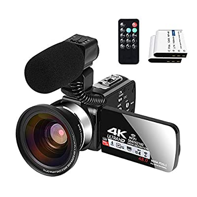 Video Camera with Microphone YouTube Camera for Vlogging 4K Webcam 30FPS 16X Digital Zoom Recorder Video Cameras 3.0 Inch Touch Screen Cameras for Photography and Video with Two Batteries by XIYXIN