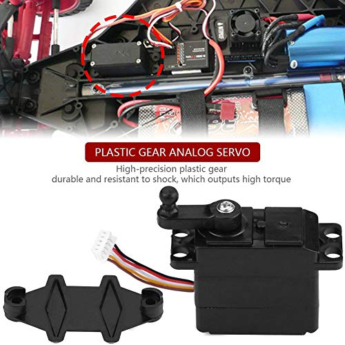 Dilwe RC Car Servo, 5-Draht-Lenkung analoges Servo-Kunststoffgetriebe für XLH 9125 REMO HBX 1/10 1/16 RC Truck