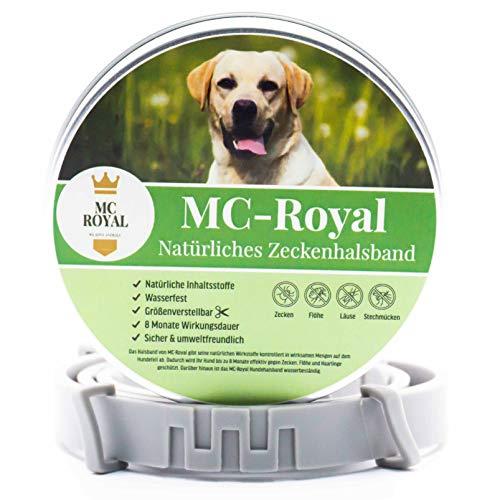 MC-Royal® Zeckenhalsband für Hunde und Katzen - Effektiver Schutz vor Ungeziefern - wasserdicht und verstellbar - bis zu 8 Monate Zeckenschutz mit 100{fe6cb12befcf51578c73225c269f4978b4dde2876d037f653d568de1b795ebf0} natürlichen inhaltsstoffen