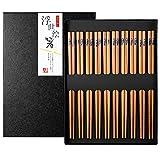 10 Pares Palillos de Bambu Japoneses Chopsticks Reutilizables Lavable con Caja de Regalo Negra para Sushi Cocina Asiática, Pescado