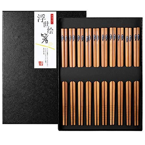 Bacchette Giapponesi, 10 Paia Bacchette Cinesi Riutilizzabili Bambù Naturale con Scatola Fatta a Mano Nera per Sushi Noodles (Piccoli Pesci Modelli)