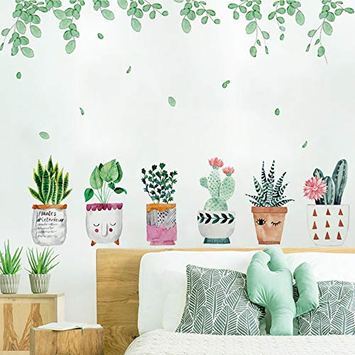 MOLANCIA Potted Plant Wall Decals,Cactus Succulent Stickers,Green Vine Fresh Leaves Peel And Stick Wall Decals,Bonsai Cactus DIY Mural Art Decoration for Living Room Bedroom Kitchen Nursery Home Décor